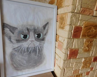 A picture of Grumpy Cat, watercolor, without a frame