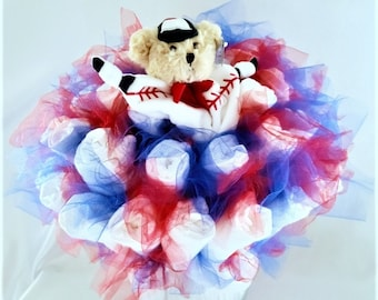 Baseball teddy bear baby diaper bouquet - baby shower centerpiece -neutral baby shower decorations - baby shower gift - new baby toy gift