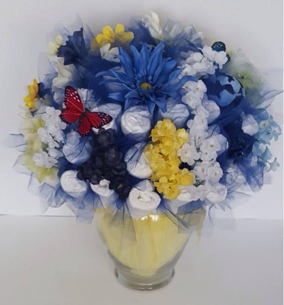 Blue yellow diaper bouquet , baby boy shower centerpiece ideas , new baby  gift , spring baby shower decorations , garden baby shower idea