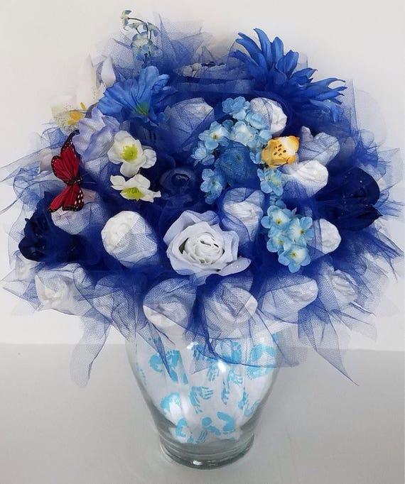 Spring Diaper Bouquet Baby Boy Shower Centerpiece Ideas Etsy