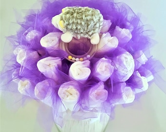 Hedgehog baby toy diaper bouquet - neutral baby shower centerpieces - baby shower ideas - unique new baby rattles - baby shower decorations