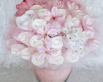 Pink Diaper bouquet - baby girl shower centerpiece ideas - baby shower decorations - new mom gift- garden baby shower idea - new baby gift