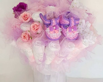 Purple Baby Shoes Diaper Bouquet- baby shower centerpiece - baby girl shower decorations - new baby gift - baby shower ideas - new mom gift