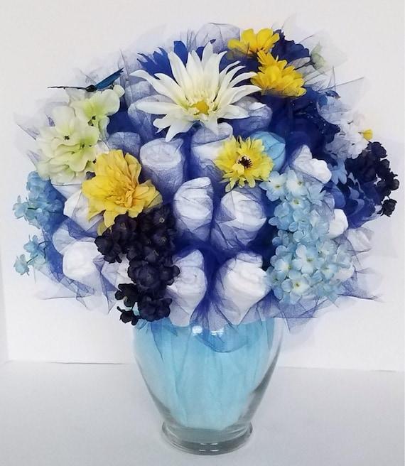 Spring Baby Diaper Bouquet Baby Boy Shower Centerpiece Ideas Etsy