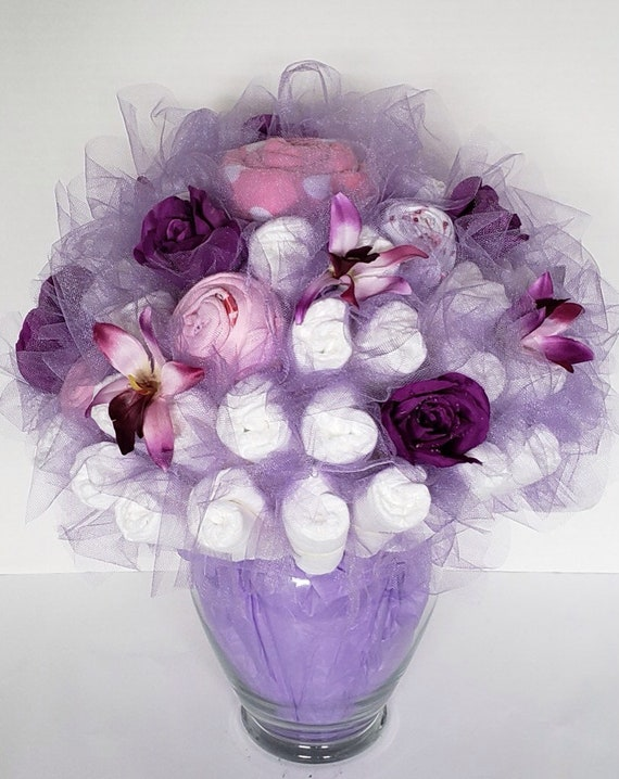 Violet Baby Diaper Bouquet Baby Shower Centerpiece Baby Etsy