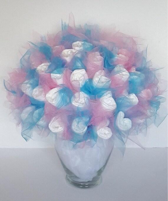 Gender Reveal Diaper Bouquet Baby Shower Centerpiece Idea Neutral Baby Shower Decoration Ideas New Mom Gift Twins Baby Shower