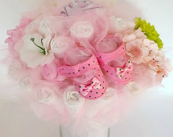 Pink and Green Baby Shoes Diaper Bouquet- baby girl shower centerpiece ideas - baby shower decorations - new baby gift - baby shower gift
