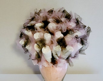 Pink and Black Diaper Bouquet - girl baby shower decorations - baby shower ideas - baby shower centerpiece - new mom gift - new baby gift