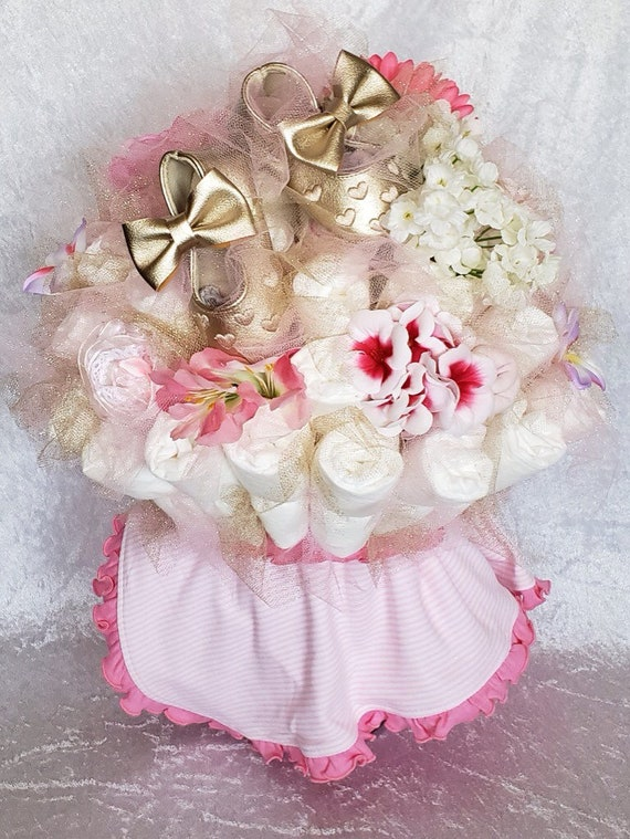 Baby Shoes Diaper Bouquet Baby Shower Centerpiece Ballerina Baby Shower Decorations New Baby Gift Baby Shower Ideas New Mom Gift