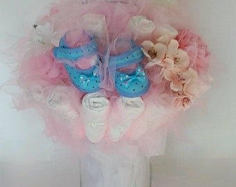 Blue and Pink Diaper Bouquet- baby girl shower centerpiece ideas - baby shower decorations - new baby gift - baby shower gift - new mom gift
