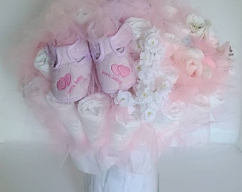 Pink Baby Love Shoes Diaper Bouquet- baby girl shower centerpiece ideas - baby girl shower decorations - new baby gift - baby shower gift