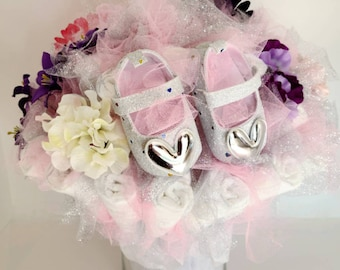 Pink and Silver Baby Shoes Diaper Bouquet- baby shower centerpiece ideas - baby girl shower decorations - new baby gift - baby shower gift