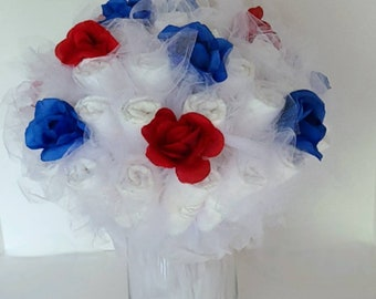 Fourth of July Diaper Bouquet - red white and blue baby shower centerpiece - neutral baby shower idea -baby shower decoration - new mom gift