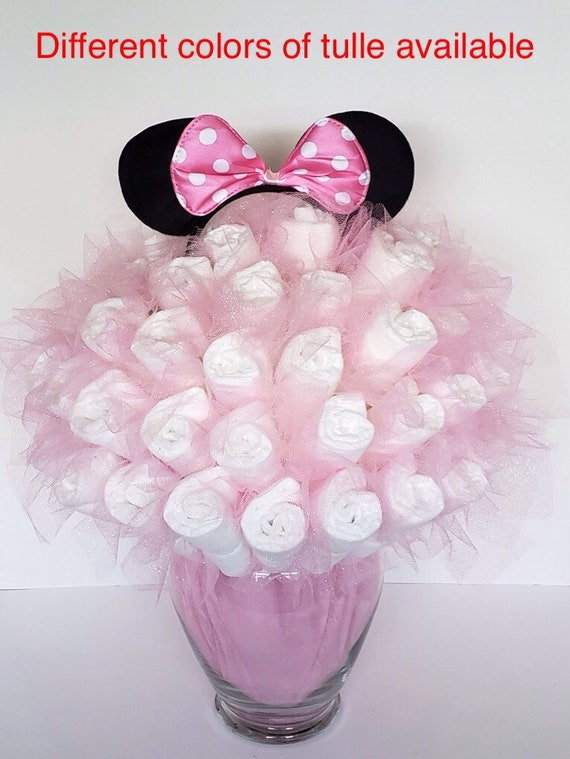 Minnie Mouse bouquet , baby shower decorations , baby shower centerpiece ,  new mom gift , unique new baby gift , Disney baby shower ideas