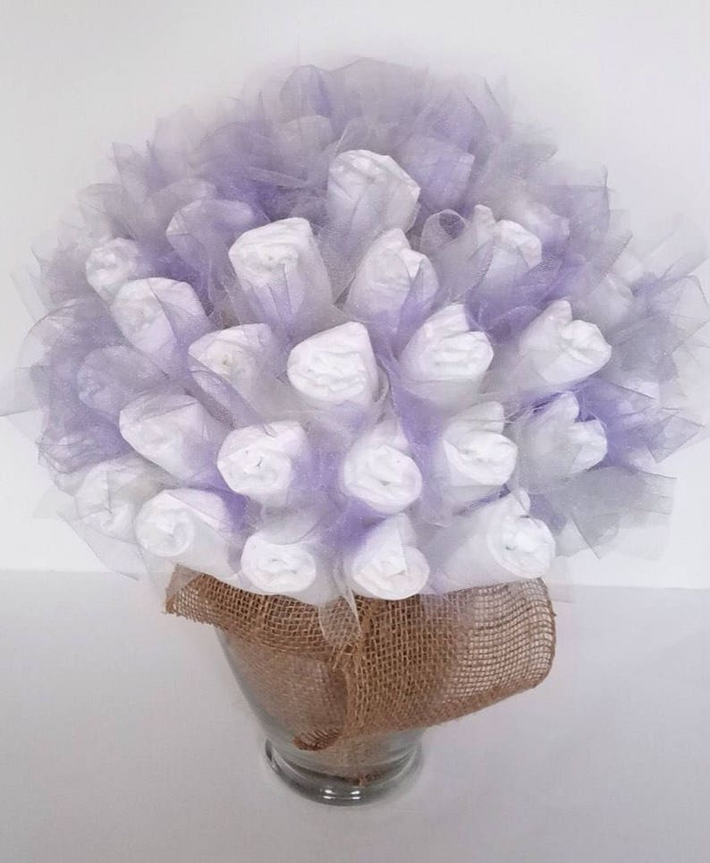 garden baby shower baby shower centerpiece new baby shower gift Rustic lavender and gray diaper bouquet baby shower decorations