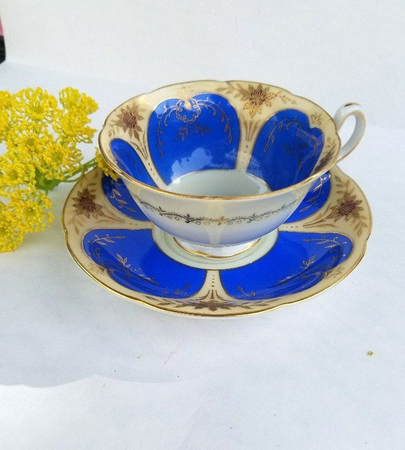 Made in Occupied Japan Cup and Saucer – Beautiful Cobalt Blue with Cream –  Excellent Vintage Condition