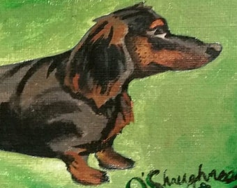 Dachshund Acrylic Painting Burlap Canvas- Incredibly Extra Long Black and Brown Smooth Longhaired Wiener Sausage Dashound Dogi Doggo Pupper