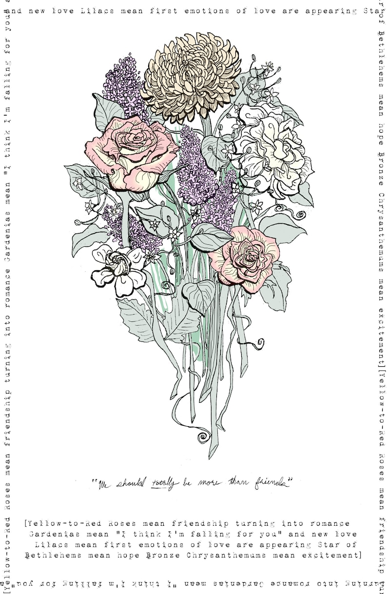 We Should Really be More than Friends Bouquet- Flower Languages Symbol  Victorian Romance Floral Romantic Love New Love Rose Gardenia Lilac