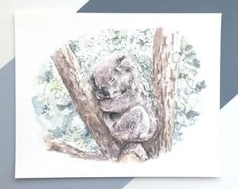 Koala Watercolor Print / Australian Animal Prints / Koala Artwork / Australian Art / Koala Gifts / Nursery Prints / Watercolour Print