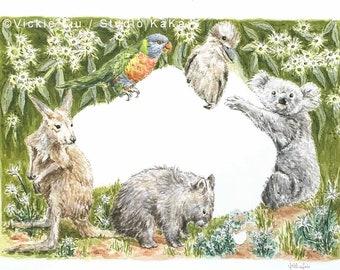 Australian animals print / Australia print / Watercolour Art / Australia souvenir / Wombat Art / Koala Art / Kangaroo Art / Kookaburra Art