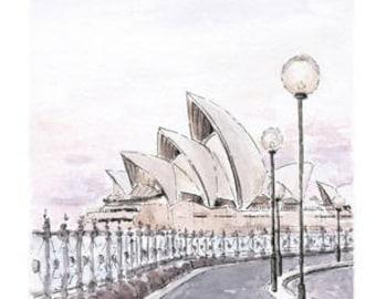 Sydney Opera House Gift / Australian Art Print / Overseas Gift / Sydney Watercolor / Fine Art Print of Sydney Landscape / Sydney Travel Gift