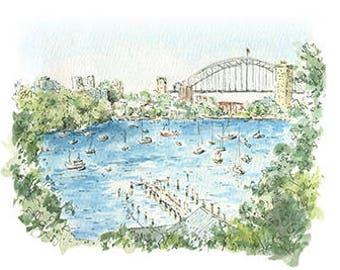 Sydney Harbour Bridge Artwork / Australian Gift / Australian Made Small Gift / Fine Art Print / Landscape Artwork / Sydney Icon watercolour