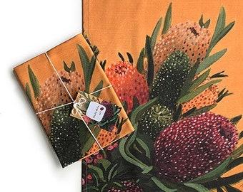 Botanical Tea towel // Australian Native Napery // Floral Kitchen Decor // Australian Gifts for overseas friends // Linen cotton tea towel