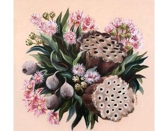 Gumnut Print / Australian native floral print / Pink Floral Wall Art / Botanical Art Print / floral Gifts for her / Fine Art Print