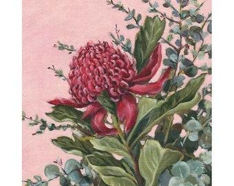 Waratah Flower Print // Australian Native Wildflower Art // Red Waratah // Pink Botanical Print //  Flower Still Life // Gifts for her