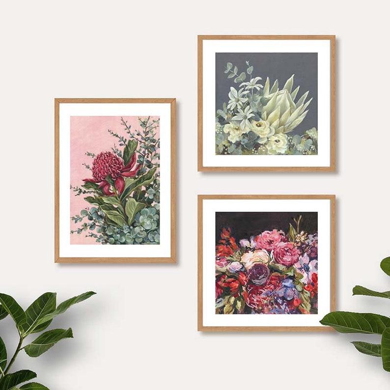Waratah Art Print  Australian Flower Print  Australian Natives Botanical Print  Pink Floral Artwork  Limited Edition Blooms