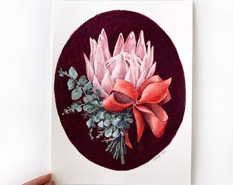 Australian native flower panting / Protea painting / Original botanical painting / Mother's day gift / pink floral art / Gouache painting