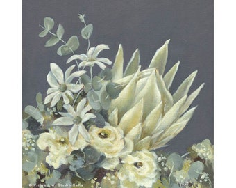 Australian Native Botanical Print // King Protea // White Flowers // Pretty Floral Wall Art // Flannel Flowers // White // Grey // Neutral