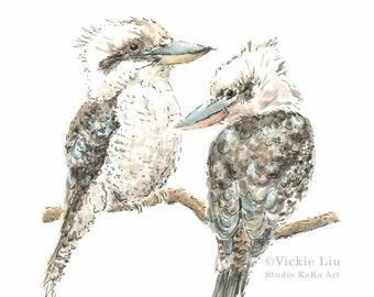 Kookaburra Print // Australian Bird Art // Australian Wildlife Print // Australian Art // Nursery Prints // Watercolour Print