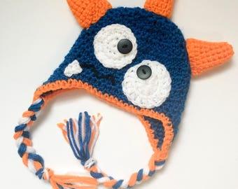Baby Monster Hat, Monster hat, Baby Boy hat, Blue and Orange Hat, Fun toddler Hat, Baby Shower Gift