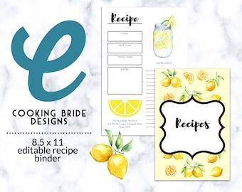 printable recipe binder cover recipe binder spine editable etsy