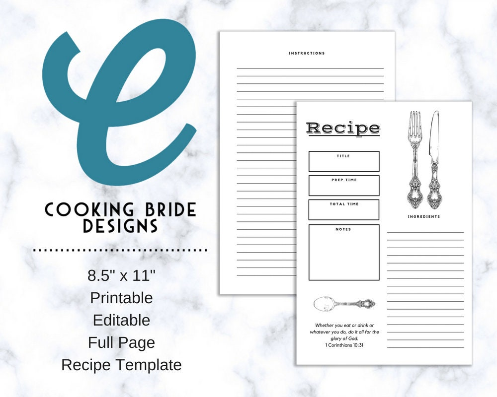 Recipe Page Recipe Card Printable Editable Full Page Etsy