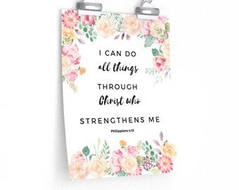 Philippians 4:13 | I Can Do All Things | Christian Wall Art | Bible Verse Art | Bible Verse Wall Art | Scripture Wall Art | Religious Art
