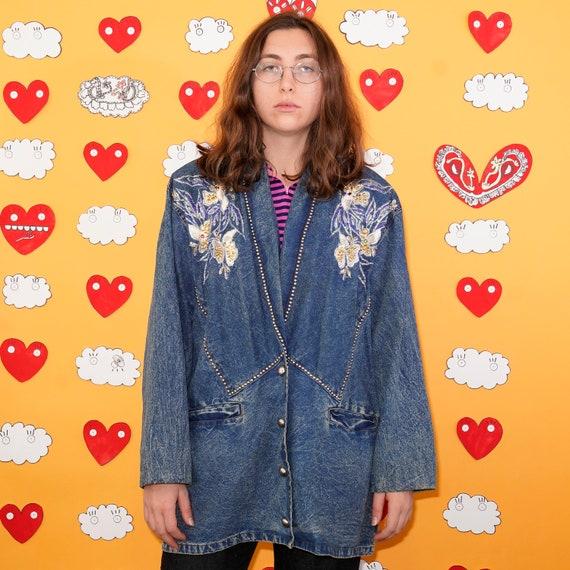 Vintage PRET Denim Blue Jeans Button Up Jacket wit