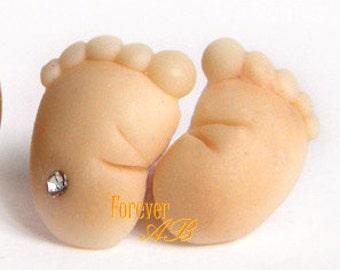 Stud earrings pin in Fimo woman girl