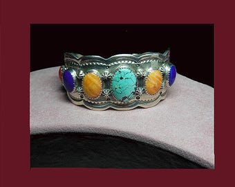Available: Vintage Navajo Native American Indian bracelet. Signed ROIE JAQUE STERLING