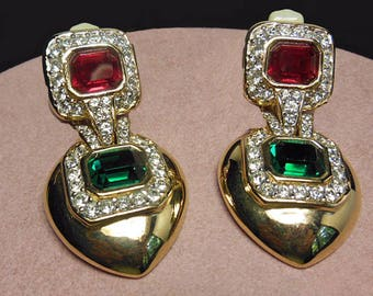 Vintage Ciner Jewels of India Earrings Holiday Gift. Signed Ciner