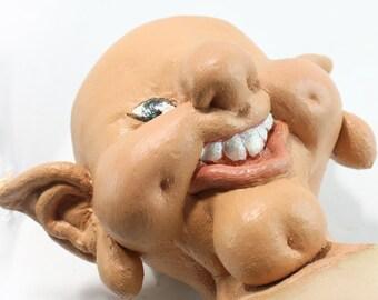 Vintage Art Doll One of a Kind Goblin, Elf, Troll Fantasy Sculpture- Soft Sculpture -Latex -Needlecraft - Pantyhose Doll Head Puppet, Creepy