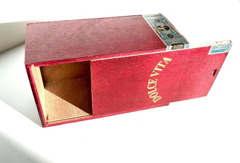 Vintage Wooden Cigar Box Dolce Vita Wood Cigar Box Man Box Watch Box Jewelry Box Stash Box Keepsake Box Man Cave Decor