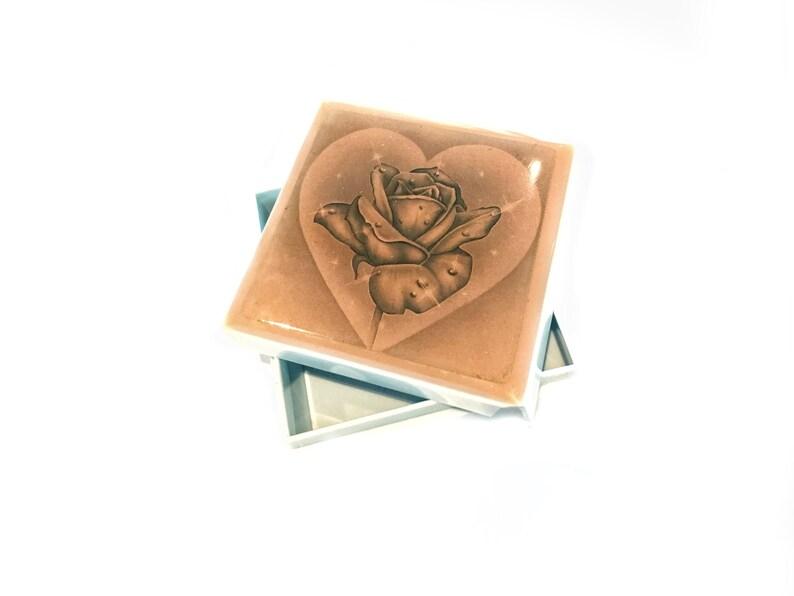 Pill Box Vintage Celluloid Lidded Small Box Tiny Jewelry Box Rose In A Heart Mystical Box Magic Box Square Pill Box