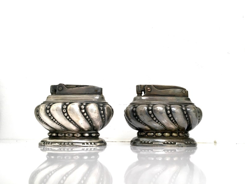 Set of 2 Ronson Crown Table Lighters – Art Metal Works 1940s & Newark N J   1950's Silver Plated with Flat Top Snuffer