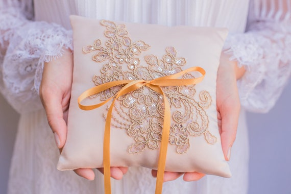 Ring Boy Blush Champagne French Chantilly Lace Ring Pillow Handmade in the USA Ring Pillow Ring Bearer Pillow