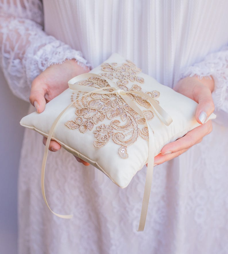Ring Boy Handmade in the USA Ivory and Gold French Lace Applique Ring Pillow Ring Bearer Pillow Ring Pillow
