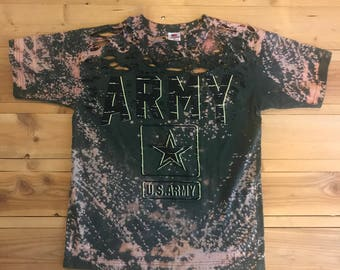 Green US Army Bleached and Distress T-Shirt ForFY