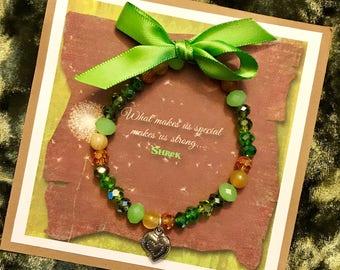 SHREK Musical Bracelet Jewelry, PRINCESS FIONA, Beaded, Green, Heart