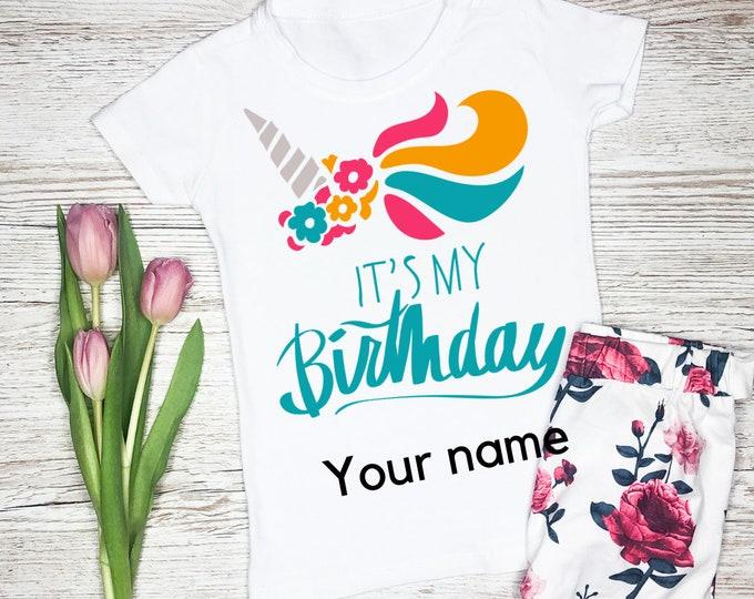Girls personalised t shirts, Its my birthday tshirt girl, Birthday gifts for girls, Birthday tshirt kids unicorn, Unicorn gifts for girls